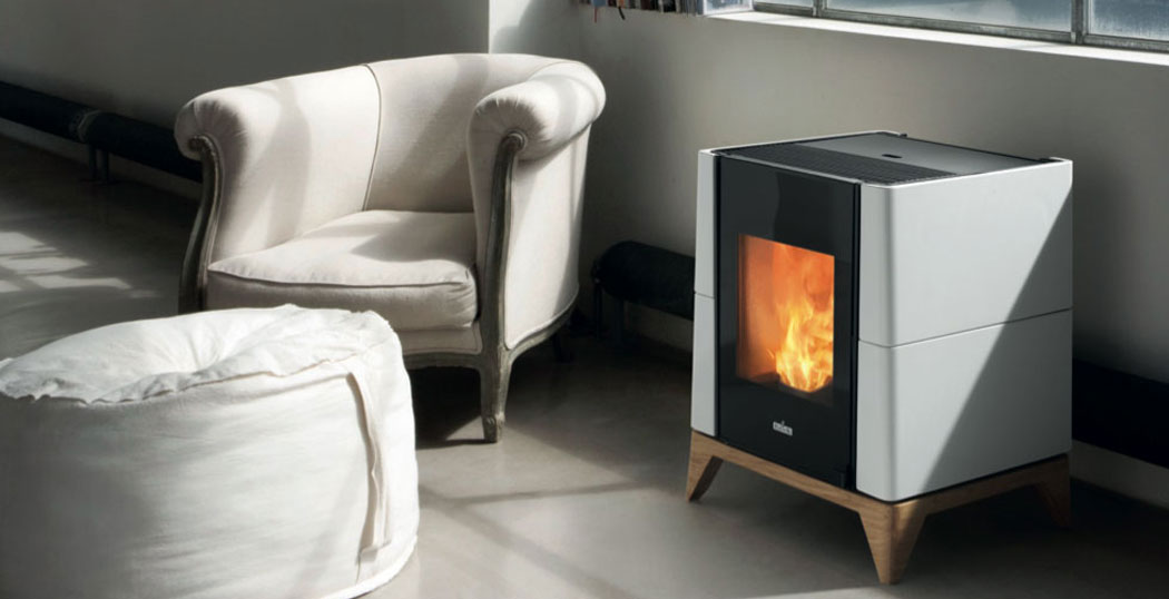 The Aria wood pellet stove stands out with its stylish and compact shape