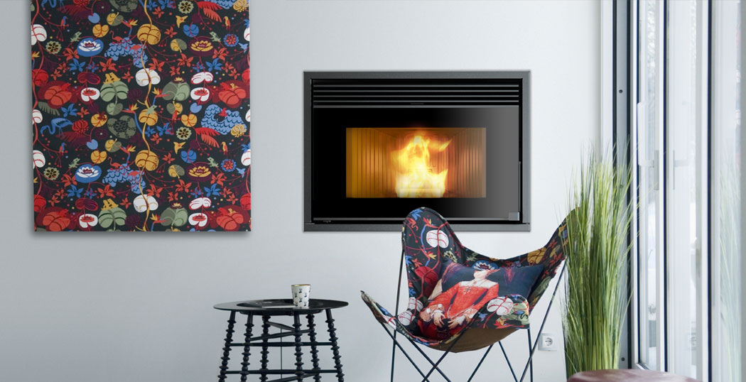 Ducted wood pellet stove for existing fireplace openings