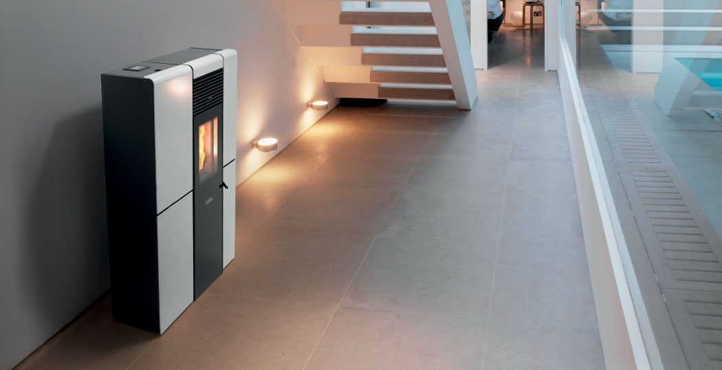 The Olivia Steel ducted wood pellet stove is ideal for narrow corridors or hallways