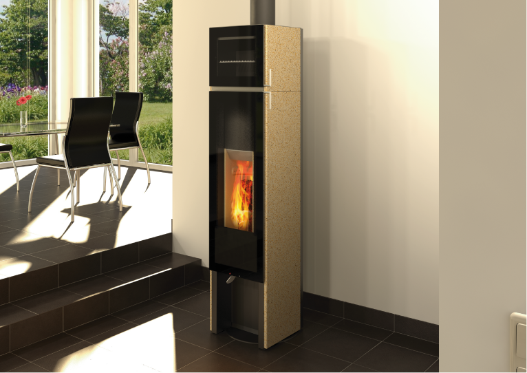 Tonwerk T BAKE wood burning storage stove made in Switzerland
