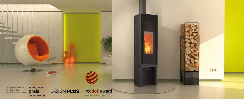 Tonwerk T One Swing wood burning storage stove made in Switzerland