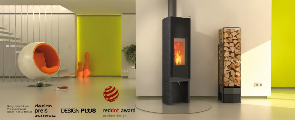 Tonwerk T One Swing wood burning storage stove made in Switzerland