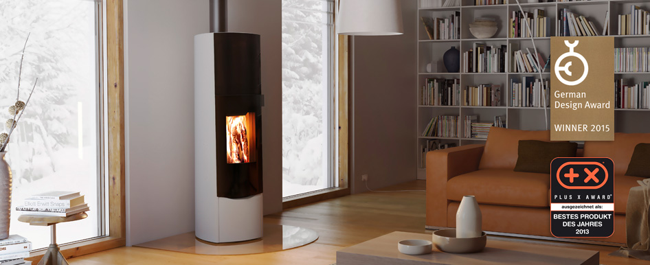 T-Sky wood burning storage stove suitable for Passive houses