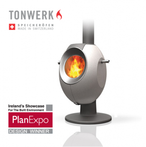 Tonwerk wood burning wood storage stove made in Swizerland