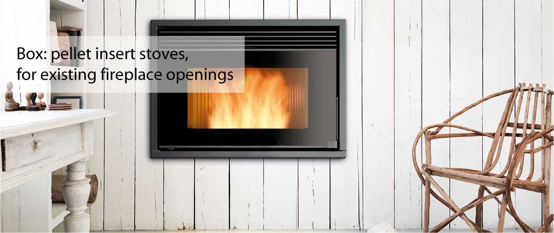 The Ravelli Box range of insert pellet stoves is designed for ultra modern fireplace, with superb energy efficiency.
