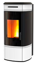 The HRV 120 Globe is a compact pellet boiler stove suitable for heating radiators