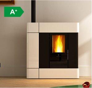 Elettra silent natural convection wood pellet stove